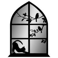 """Декоративное зеркало """"Кошка на окне"""""""
