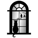 "Декоративное зеркало ""Кот в окне"""