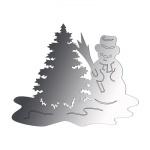 """Зеркальный магнит """"Снеговик и ёлка"""""""